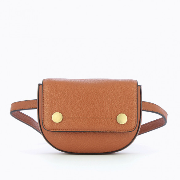 small fanny bag camel woman Vanessa Wu in grained faux leather with two gold snap fasteners
