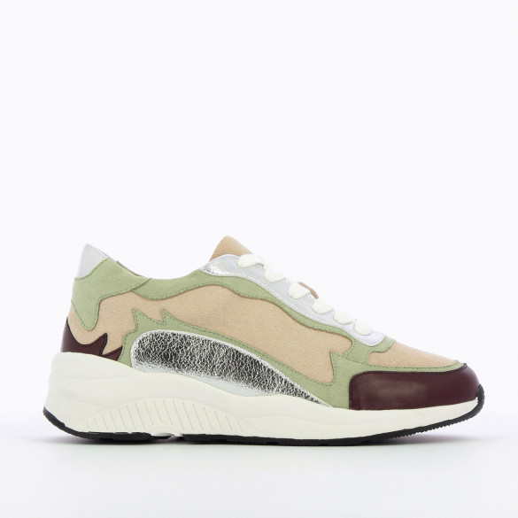 sneakers large white graphic sole Vanessa Wu woman burgundy beige silver pastel green