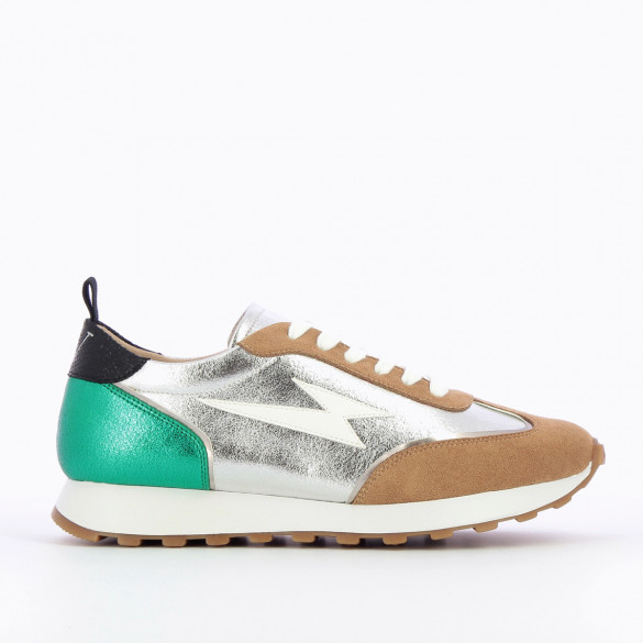 rounded sneakers woman running shoes beige laces faux leather lightning iridescent green at the back Vanessa Wu