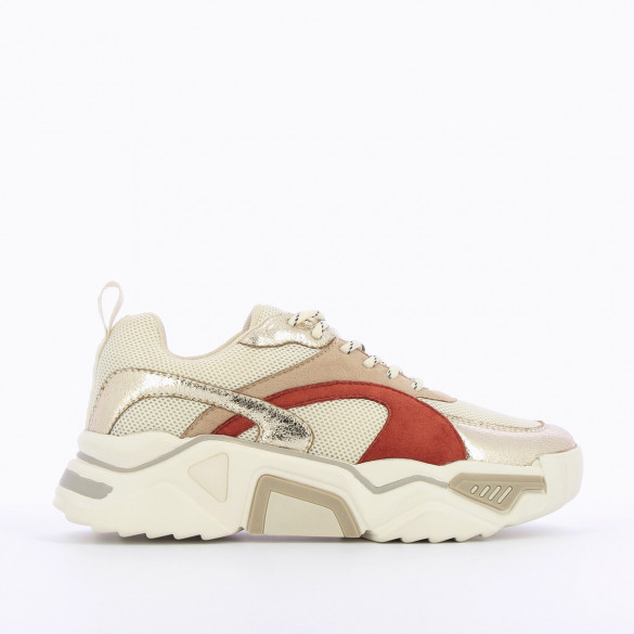 white and gold sneakers woman terracotta yoke thick graphic sole Vanessa Wu streetwear