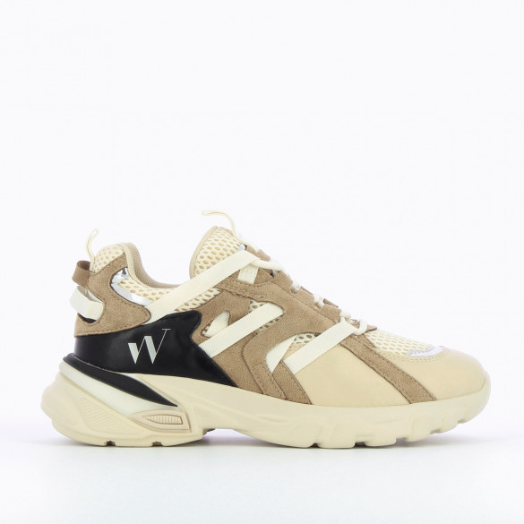 sneakers woman streetwear Vanessa Wu beige white straps taupe thick graphic sole