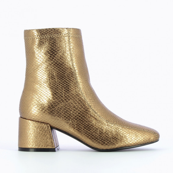 metallic bronze snakeskin effect high ankle boots with heel woman Vanessa Wu with topstitch
