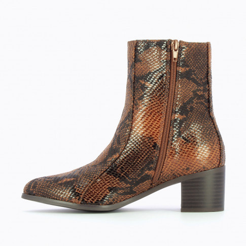 Camel snakeskin effect ankle boots with topstitched upper