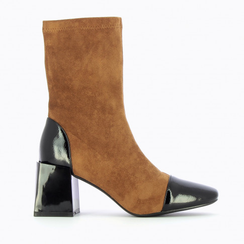 Camel sock boots with block heel