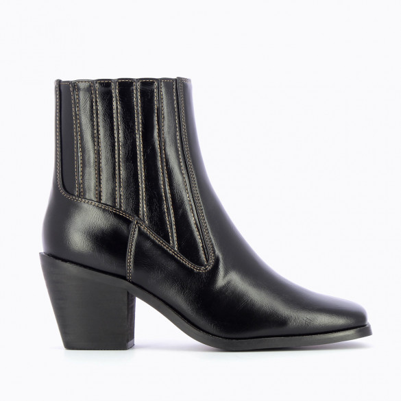 cowboy boots black with square toe woman Vanessa Wu with contratsing topstitch beige