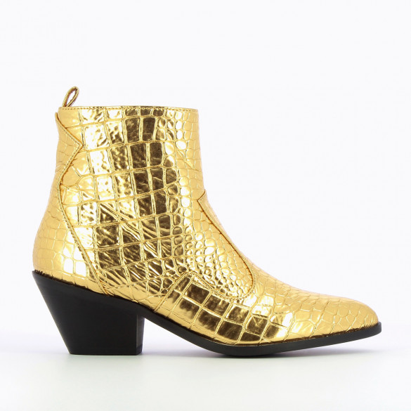 gold cowboy boots crocodile effect metallic pointed toe and small heel woman Vanessa Wu