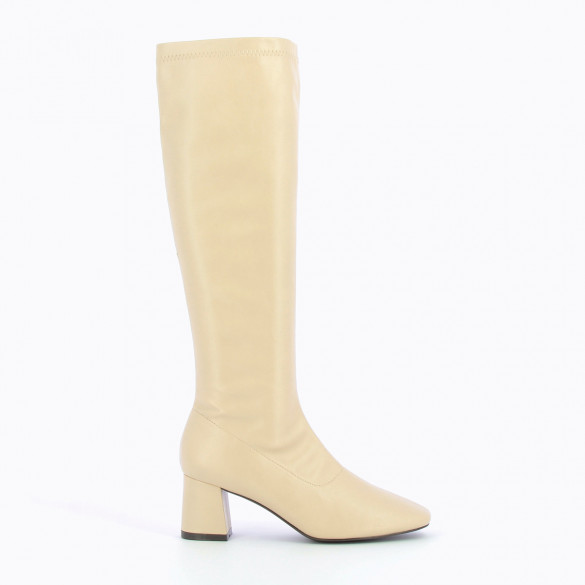 ivory vintage boots woman Vanessa Wu stretch in faux leather with round toe and small heel