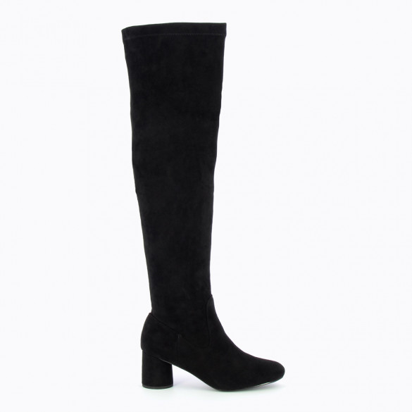black thigh highs with round heel in suedette woman Vanessa Wu stretch