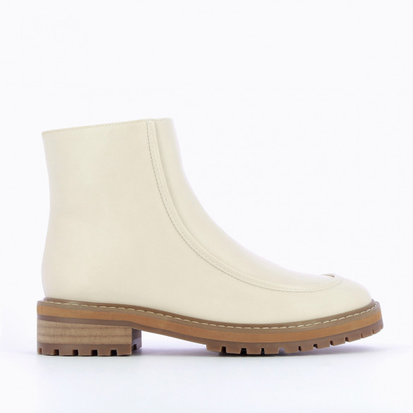 ankle boots with topstitch light beige in faux leather woman Vanessa Wu with large serrated sole