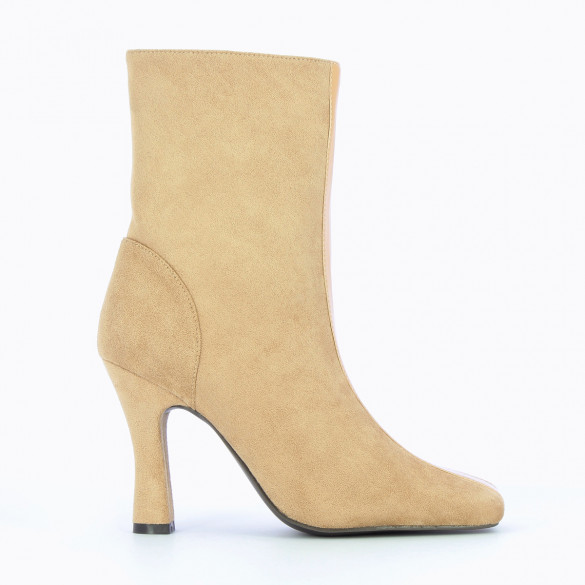 beige ankle boots with heel suqare toe high upper in suedine woman Vanessa Wu