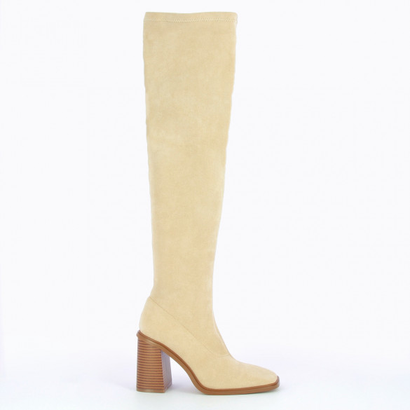 beige thigh highs with high heels woman Vanessa Wu in suedette stretch and wood effect sole