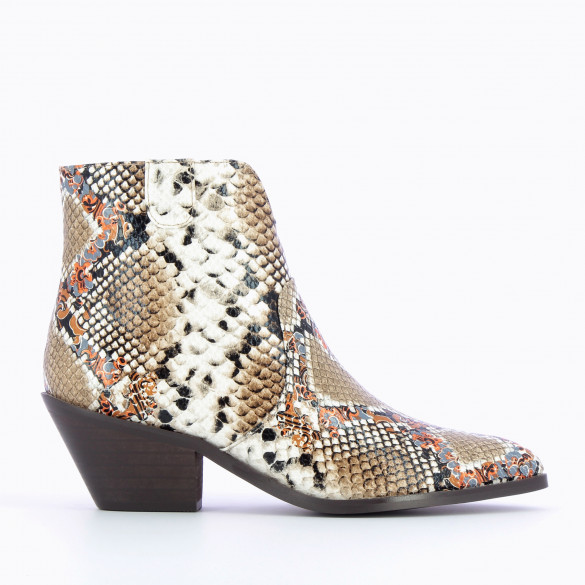 multicolored cowboy boots snakeskin effect with cuban heel ankle boots woman Vanessa Wu western style