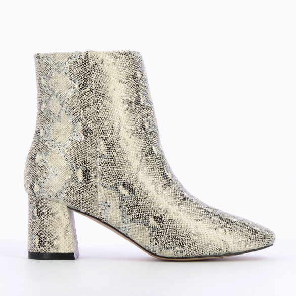 snakeskin print ankle boots light beige with small heel and round toe Vanessa Wu