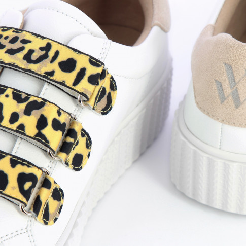 White lightning sneakers with yellow leopard velcro