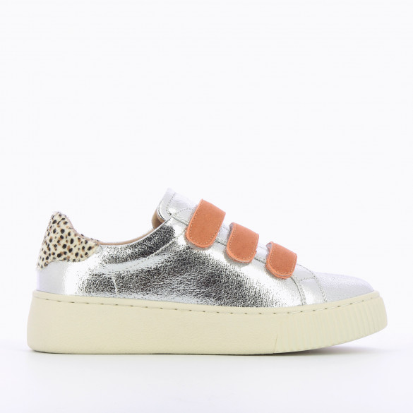 textured silver sneakers with velcro apricot suedette and cheetah details woman Vanessa Wu creeper sole beige