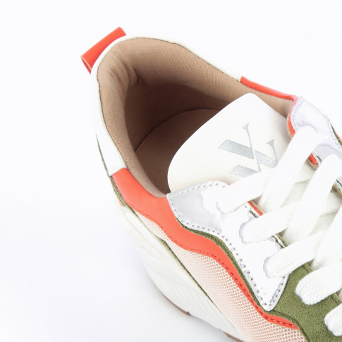 Nude mesh sneakers with silver and orange details