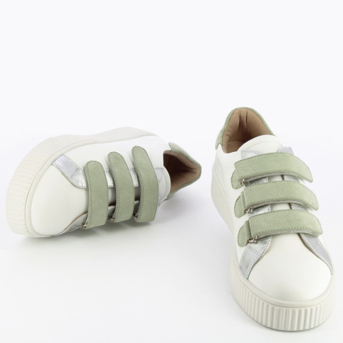 White sneakers with green velcro