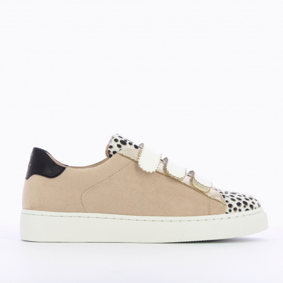 suedette sneakers beige Vanessa Wu velcro with serrated edges white and cheetah yokes woman gold details