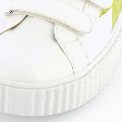 White lightning sneakers with lime green crocodile details