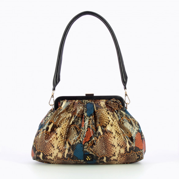 pleated bag drawstring camel snakeskin print woman Vanessa Wu with black handle large
