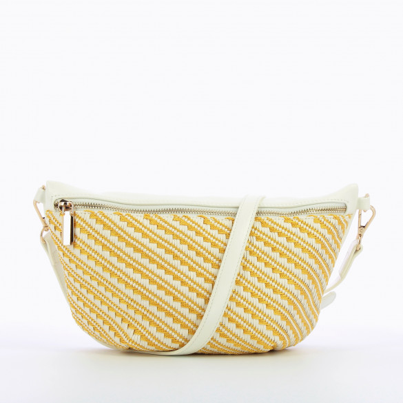 oversized fanny bag woven yellow and white removable strap woman Vanessa Wu