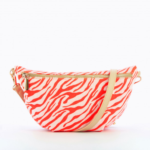 fanny bag oversized pink pony leather iridescent white zebra woman Vanessa Wu