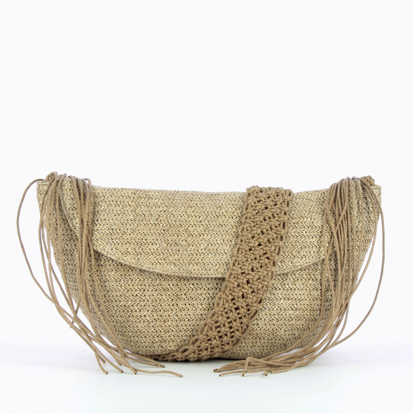 carrier bag taupe raffia effect with shoulder strap braided woman Vanessa Wu