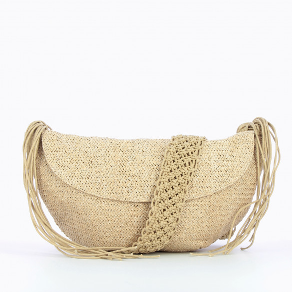 carrier bag large raffia effect with shoulder strap removable braided Vanessa Wu