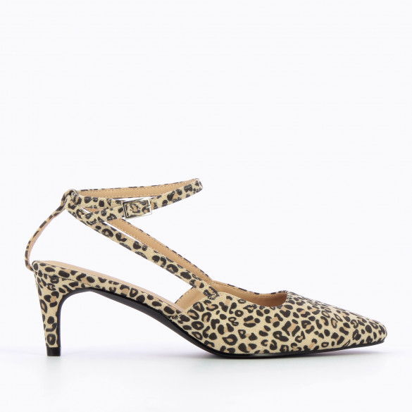 Pumps beige in suedette leopard print woman Vanessa Wu with small fine heel and pointed toe