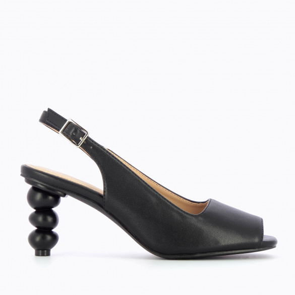 Pumps black with heel sphere shaped geometric peep-toe woman Vanessa Wu
