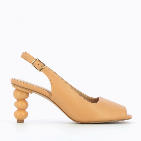 Camel peep-toe pumps with ball heel
