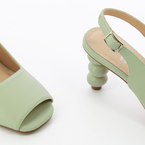 Almond green peep-toe pumps with ball heel