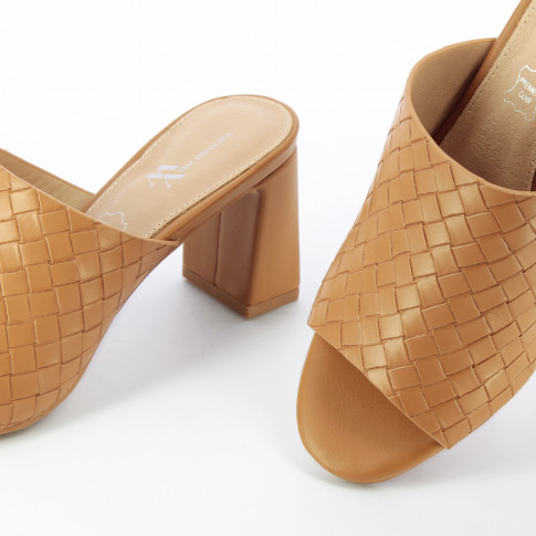 Camel woven effect mules with heel
