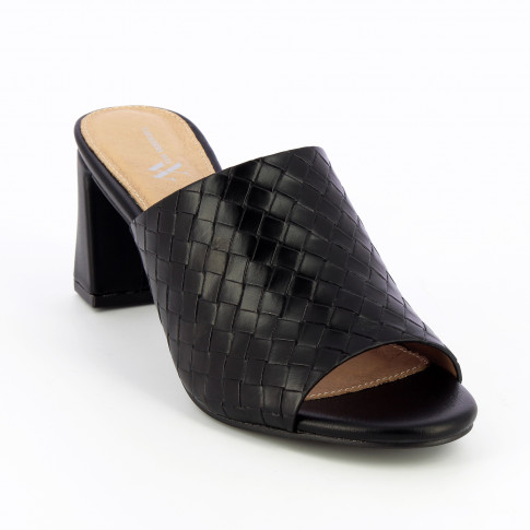 Black woven effect mules with heel