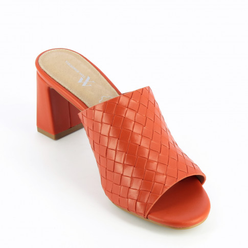 Red woven effect mules with heel