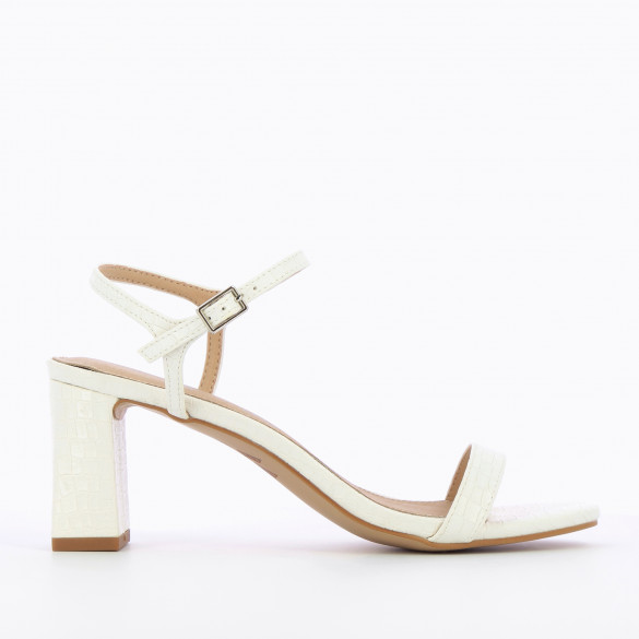 White sandals with block heel faux crocodile leather woman Wanessa Wu with fine strap