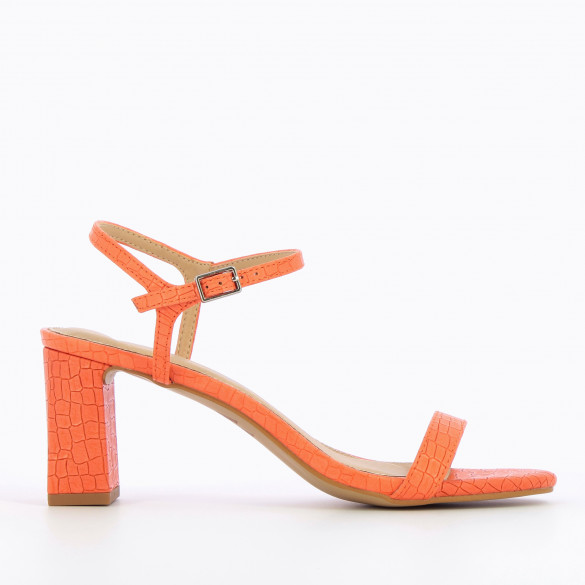 orange sandals faux leather crocodile effect with block heel woman Vanessa Wu with fine strap