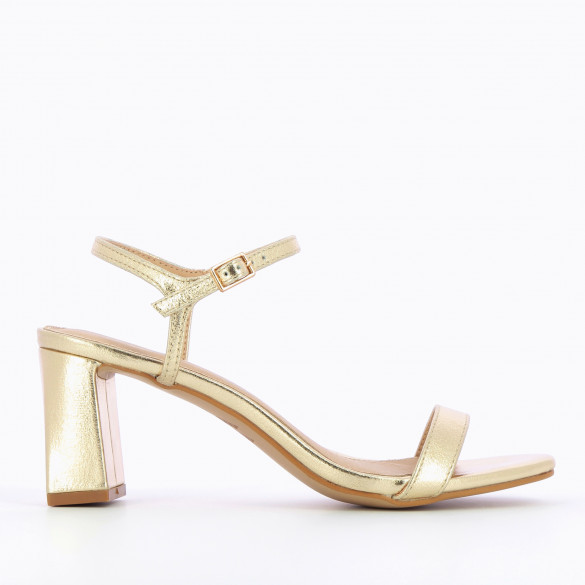 Gold sandals faux leather textured effect with block heel and fine strap adjustable woman Vanessa Wu