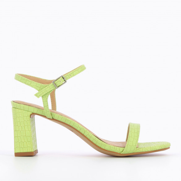 Pistachio green sandals faux leather crocodile effect with black heel woman Vanessa Wu with round toe