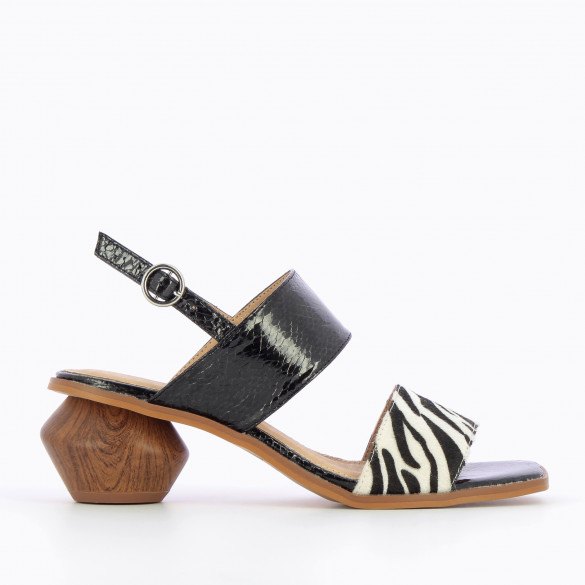 black sandals snakeskin effect with sculpted heel wood effect and zebra print strap woman Vanessa Wu