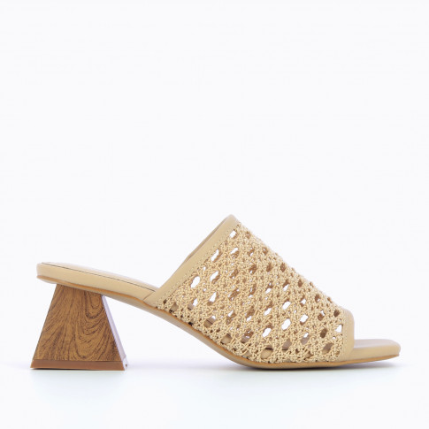 Beige mules with heel and caning