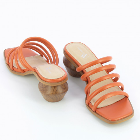 Brick red mules with ball heel