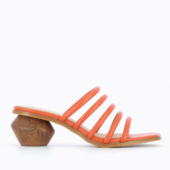 Brick red mules multiple rounded straps with heel faux wood effect sculpted Vanessa Wu square toe