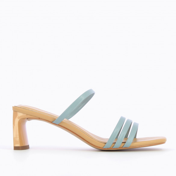 Beige mules with rectangular heel patent with pastel blue straps woman Vanessa Wu and square toe