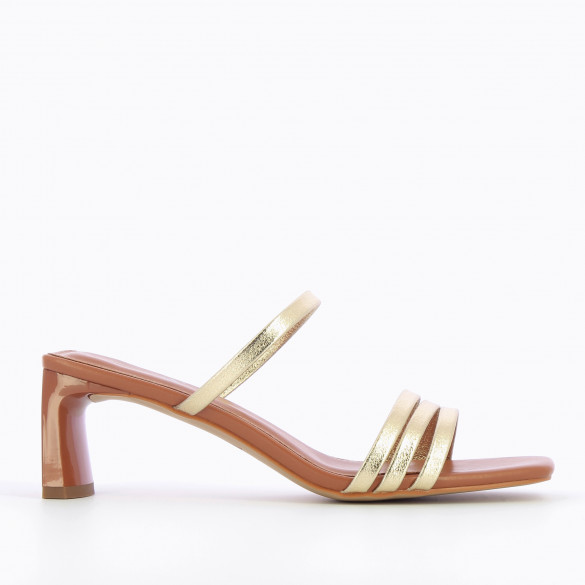 Camel mules with gold straps and rectangular heel patent woman Vanessa Wu with square toe