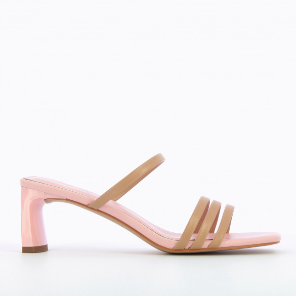 Light pink mules with beige straps and heel patent rectangular woman Vanessa Wu with square toe
