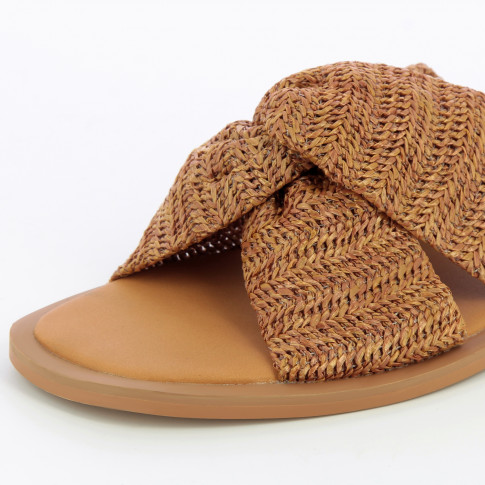 Camel raffia effect mules with bow