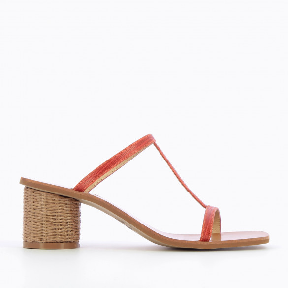 Brick red salomé mules with heel raffia round and fine straps woman Vanessa Wu