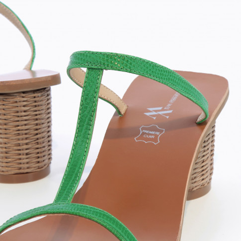 Green salomé mules with raffia heel