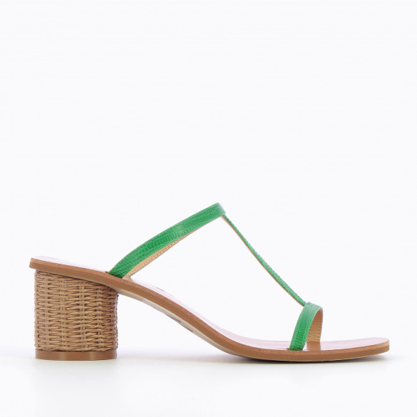 Green salomé mules with fine straps and round heel raffia woman Vanessa Wu